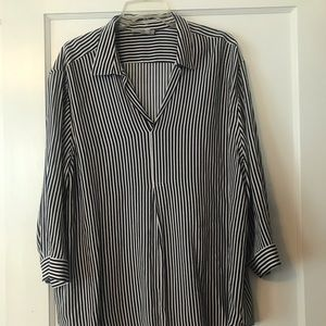 Navy and white pinstripe top